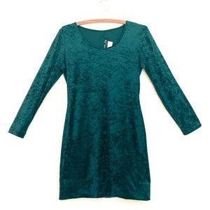 90s Crushed Green Velvet Mini Dress - S/M